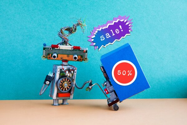 Funny robot moving shopping cart big blue box