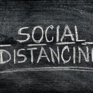 Social distancing on blackboard