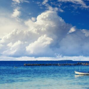 Beautiful summer scene of calm seas and boat