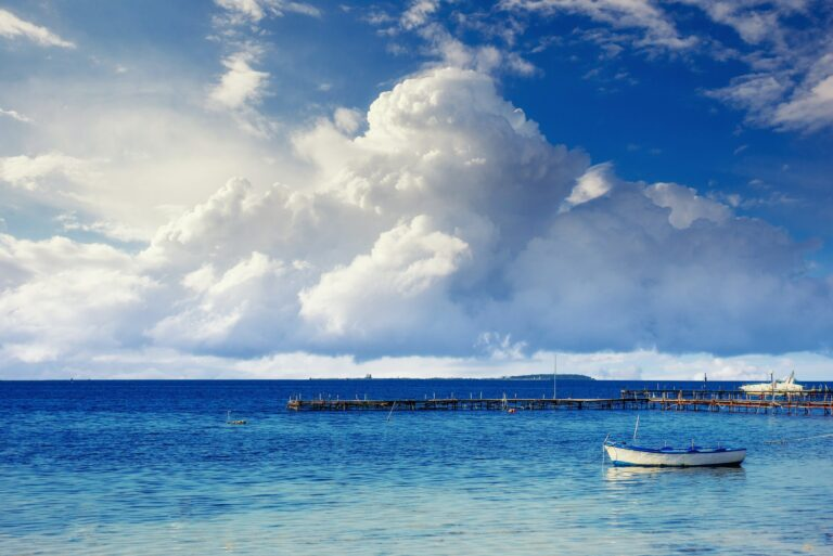 Beautiful summer scene of calm seas and boat