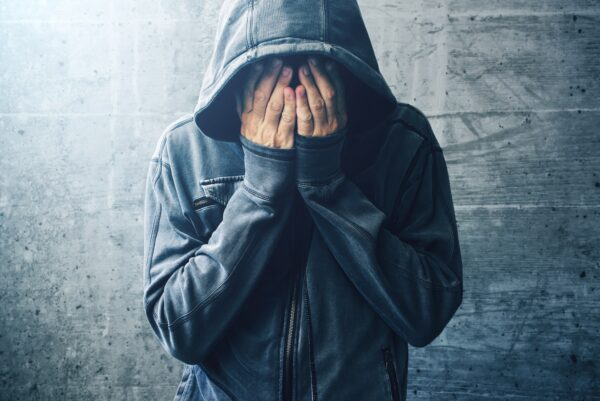 Hopeless drug addict going through addiction crisis