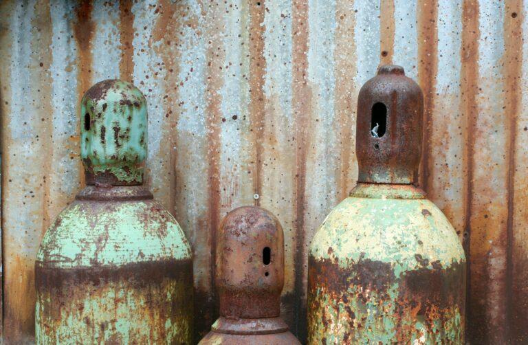 Rusty acetylene and oxygen tanks