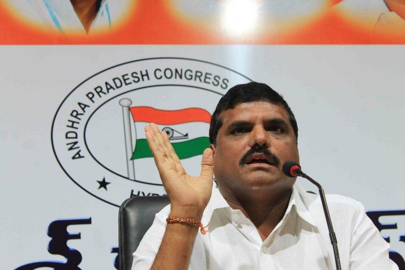 Andhra Pradesh Congress Committee (APCC) president Botsa Satyanarayana addressing media on Panchayat polls at Gandhi Bhavan, Hyderabad on July 22, 2013. (Photo: IANS)