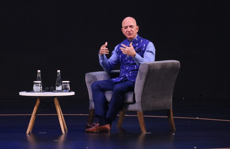 New Delhi: Amazon CEO Jeff Bezos interacts with entrepreneurs at the Amazon Smbhav event in New Delhi on Jan 15, 2020. (Photo: IANS)