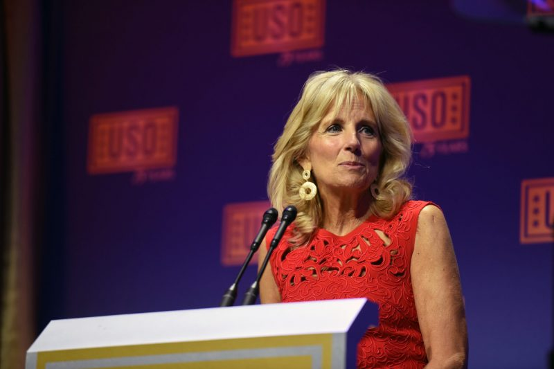 Dr. Jill Biden, second lady of the United States, addresses the 2016 USO Gala, Washington, D.C., Oct. 20, 2016.  (U.S. Army National Guard photo by Sgt. 1st Class Jim Greenhill)