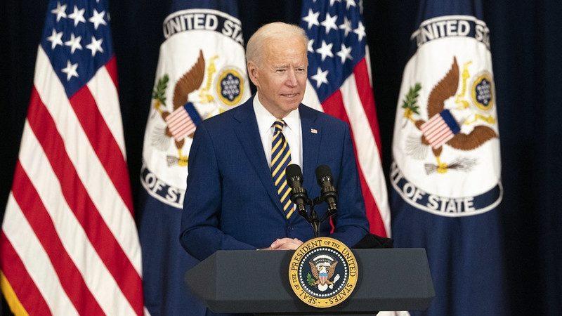 United States President Joe Biden speaks at the State Department on Thursday, February 4, 2021. (Photo: State Dept/IANS)