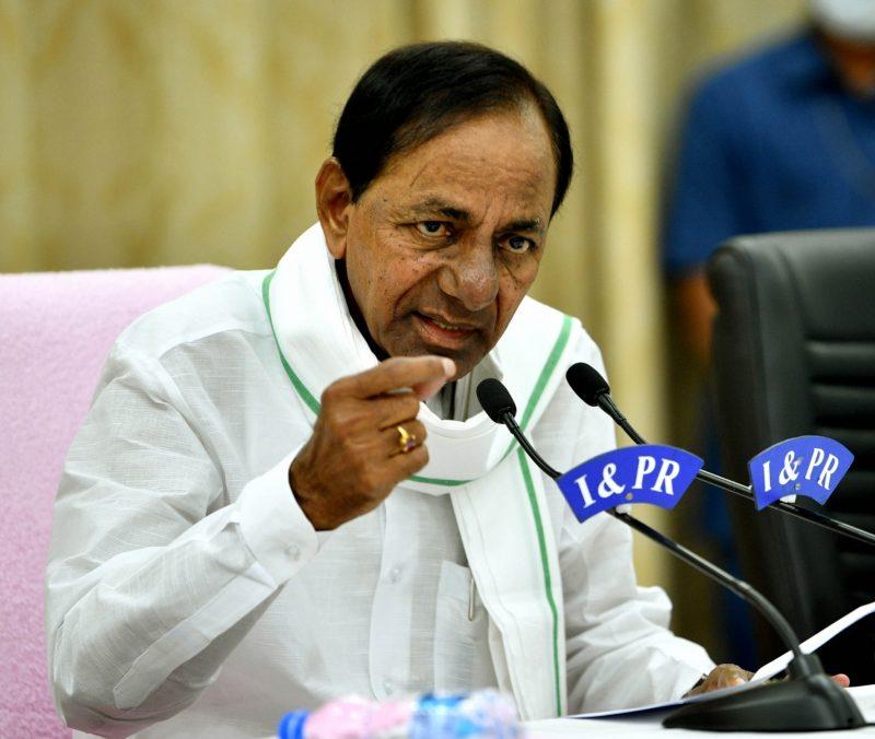 Hyderabad: Telangana Chief Minister K Chandrashekar Rao addresses a press conference in Hyderabad on May 18, 2020. (Photo: IANS)