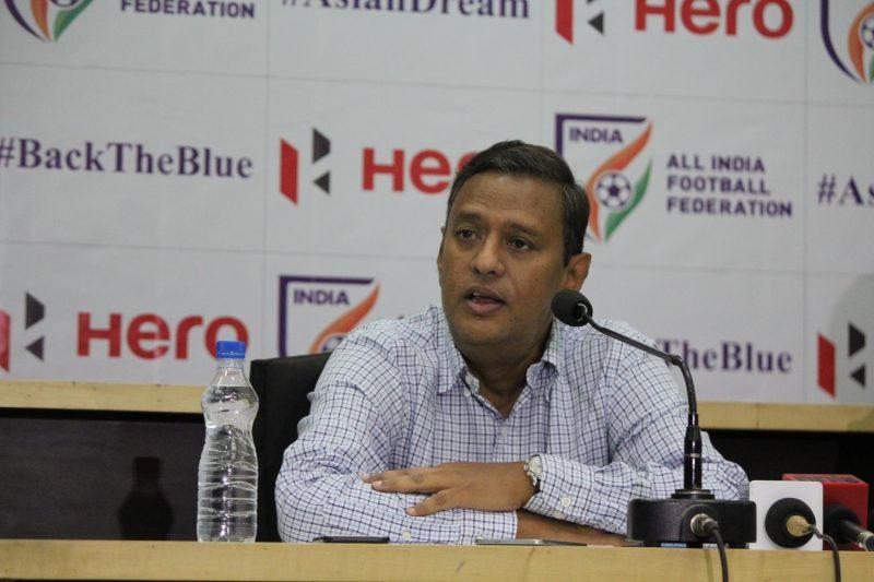 New Delhi: All India Football Federation (AIFF) General Secretary Kushal Das addresses a press conference in New Delhi on July 2, 2018. (Photo: IANS)