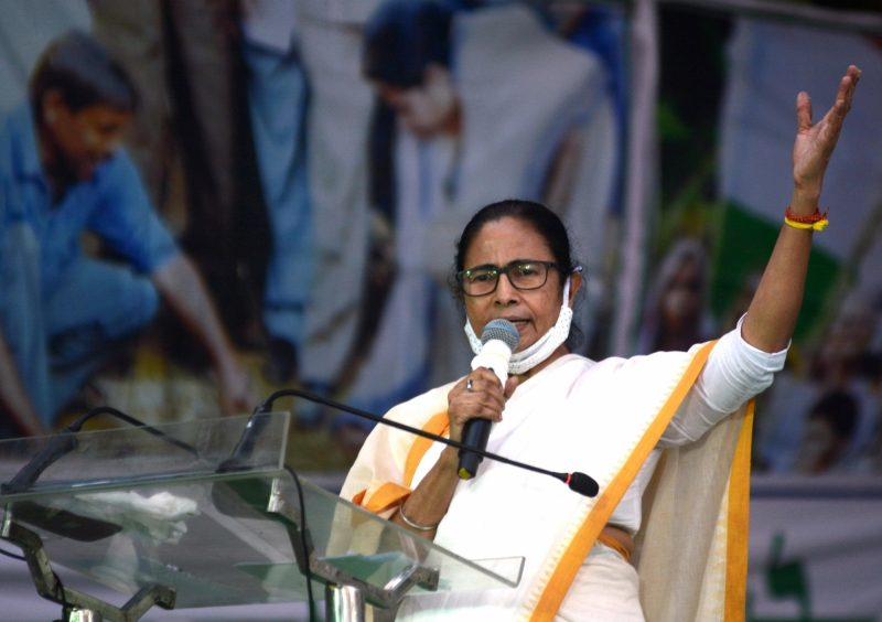 Kolkata: West Bengal Chief Minister and TMC supremo Mamata Banerjee addresses during the party's demonstration against the Central Government over new farm laws, in Kolkata on Dec 10, 2020. (Photo: Kuntal Chakrabarty/IANS)