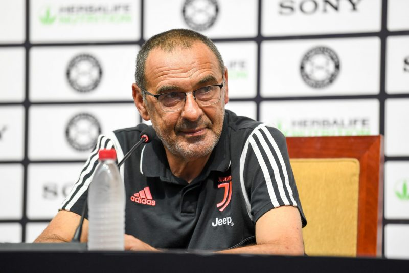 NANJING, July 23, 2019 (Xinhua) -- Juventus's head coach Maurizio Sarri attends a press conference ahead of the International Champions Cup football match between Inter Milan and Juventus in Nanjing, eastern China's Jiangsu Province on July 23, 2019. The match will kick off in Nanjing on July 24, 2019. (Xinhua/Li Bo/IANS)
