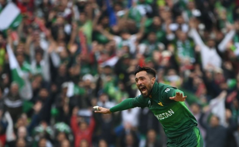Birmingham: Pakistan's Mohammad Amir celebrates fall of a wicket during the 33nd match of 2019 World Cup between New Zealand and Pakistan at Edgbaston Stadium in Birmingham, England on June 26, 2019. (Photo Credit: Twitter/@cricketworldcup)