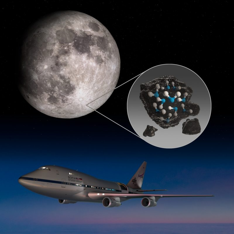 This illustration highlights the Moon's Clavius Crater with an illustration depicting water trapped in the lunar soil there, along with an image of NASA's Stratospheric Observatory for Infrared Astronomy (SOFIA) that found sunlit lunar water. (Photo: NASA)
