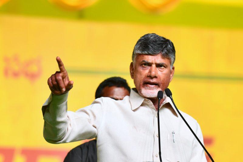 Visakhapatnam: Telugu Desam Party president and Andhra Pradesh Chief Minister N Chandrababu Naidu addresses during a Telugu Desam Party's rally in Visakhapatnam on March 31, 2019. (Photo: IANS)