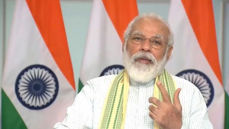 New Delhi: Prime Minister Narendra Modi addresses at the inauguration of a 750-MW solar project - said to be Asia's biggest -- at Rewa in Madhya Pradesh through video conferencing from New Delhi on July 10, 2020. (Photo: IANS/PIB)