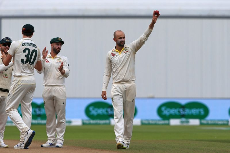 Birmingham: Birmingham: Australia's Nathan Lyon celebrates after taking five wickets on Day 5 of the first match of ICC World Test Championship between Australia and England at Edgbaston Stadium in Birmingham, England on Aug 5, 2019. (Photo: Twitter/@ICC)