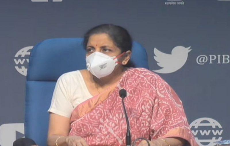 New Delhi: Union Finance Minister Nirmala Sitharaman addresses a curtain raiser press conference on the launch of Garib Kalyan Rojgar Abhiyan, in New Delhi on June 18, 2020. (Photo: IANS)