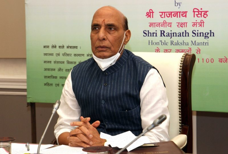 New Delhi: Defence Minister Rajnath Singh at the inauguration of a webinar on 'Seamless implementation of Centrally Sponsored Schemes in Cantonment areas' organised by Directorate General of Defence Estates, in New Delhi on Aug 25, 2020. Also seen Defence Secretary Ajay Kumar and Director General Defence Estates (DGDE) Deepa Bajwa. (Photo: IANS/DPRO)