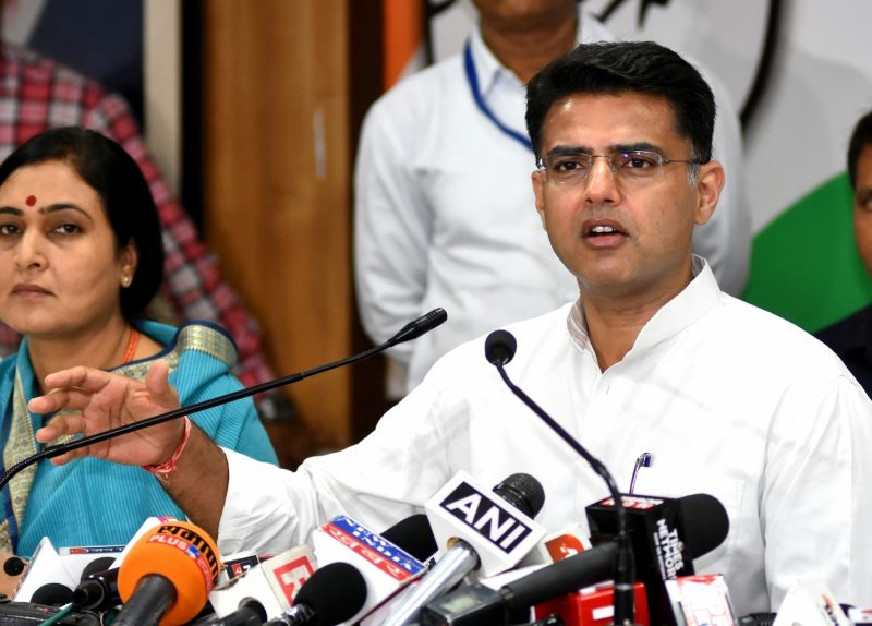 Jaipur: Rajasthan Deputy Chief Minister Sachin Pilot addresses a press conference in Jaipur, on May 4, 2019. (Photo: Ravi Shankar Vyas/IANS)