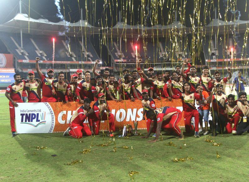 Chennai: Chepauk Super Gillies players celebrate after winning the Tamil Nadu Premier League in Chennai on Aug 20, 2017. (Photo: IANS)