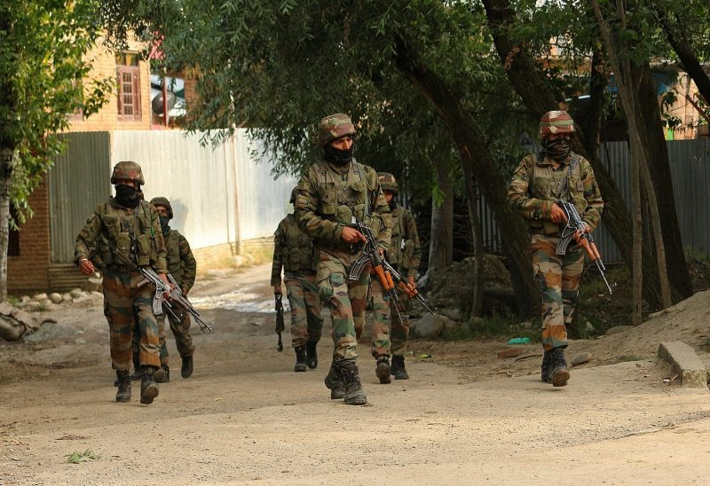 Pulwama: Army personnel carry out a search and cordon operation after one terrorist was killed and one army jawan also died in action and a policeman of the special operations group of Jammu and Kashmir police was injured in an encounter in Jammu and Kashmir's Pulwama district on July 7, 2020. (Photo: IANS)