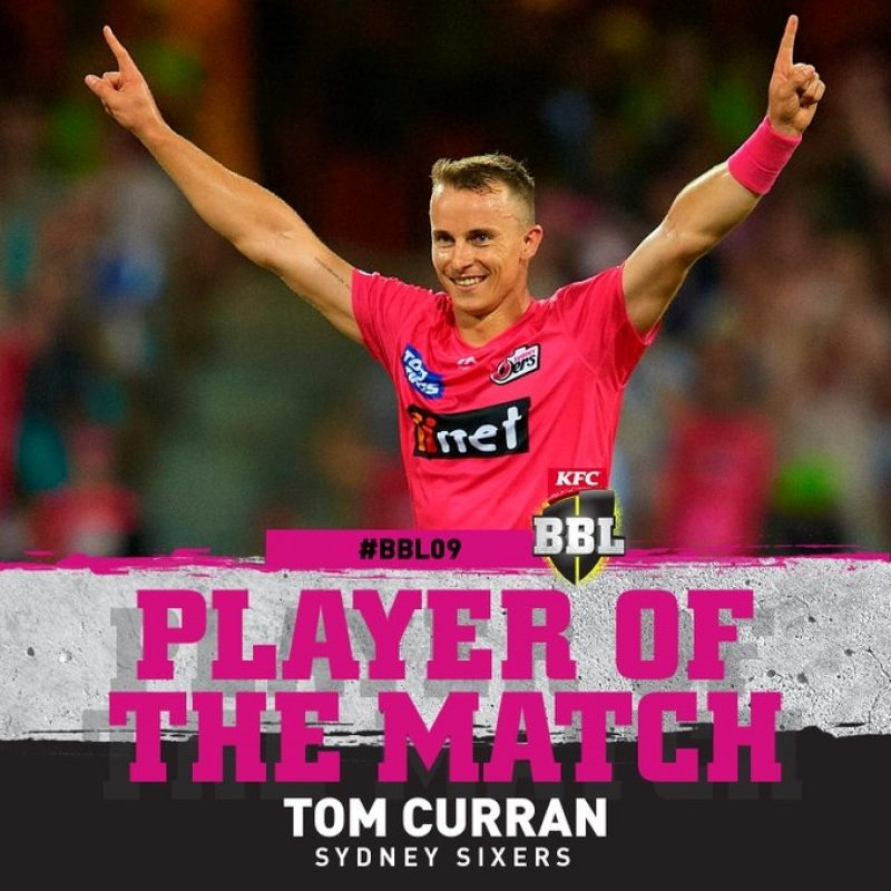 With Tom Curran starring with bat and ball in Sydney Sixers' win over Sydney Thunder in a thrilling Super Over in the Big Bash League on Saturday, Twitter fans praised him for the Englishman's performance.