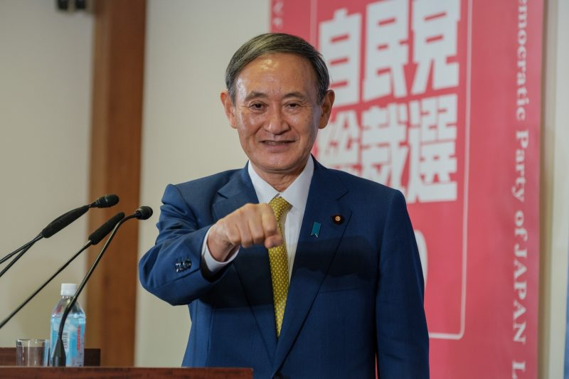 Tokyo, Sept. 14, 2020 (Xinhua) -- Yoshihide Suga, new president of Japan's ruling Liberal Democratic Party (LDP), gestures before a press conference in Tokyo, Japan on Sept. 14, 2020. Yoshihide Suga was elected as the new president of the ruling LDP on Monday at a joint plenary meeting of party members from both houses of the Diet and delegates from local chapters. (Nicolas Datiche/Pool via Xinhua/IANS)