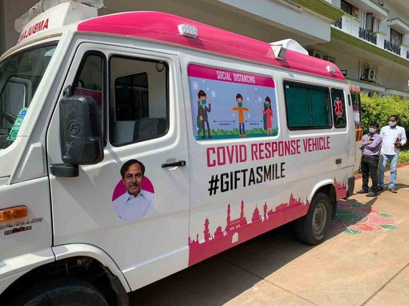 Hyderabad: Telangana Health Minister Eatala Rajender and Municipal Administration and Urban Development Minister KT Rama Rao flag off six COVID-19 response ambulances, in Hyderabad on July 30, 220. (Photo: IANS)