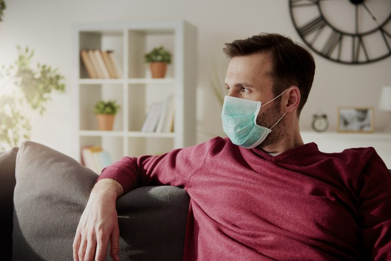 Thoughtful man in face mask